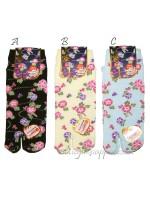 Tabi calze infradito disegno fiori asagao (tag.M) tre colori