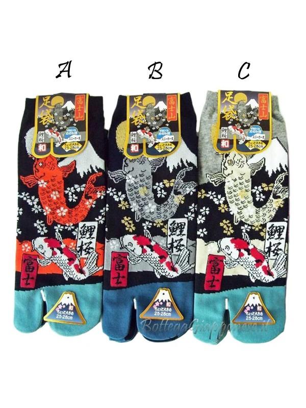 Tabi calze infradito disegno Koi e Fuji (tag.L) tre colori