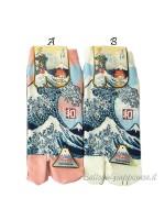Tabi calze infradito disegno Onda e Fuji (tag.M) due colori