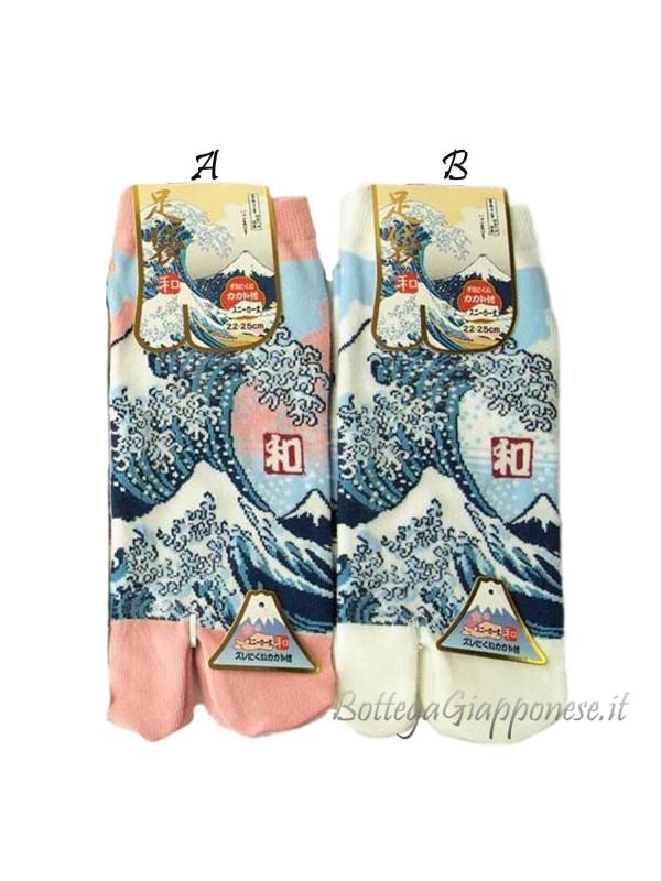Tabi calze infradito disegno Onda e Fuji (tag.L) due colori