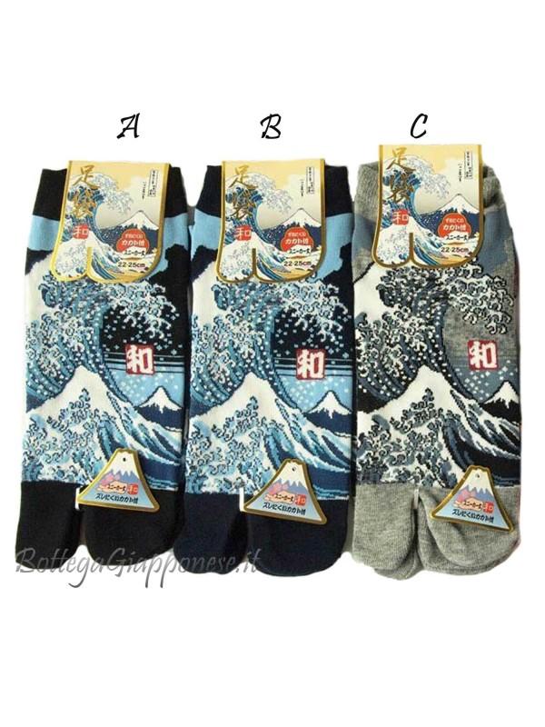 Tabi calze infradito disegno Onda e Fuji (tag.L) tre colori