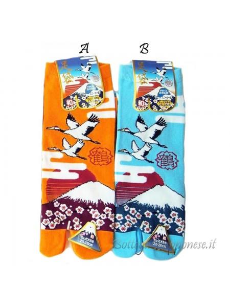 Tabi calze infradito disegno gru e Fuji (tag.L) due colori