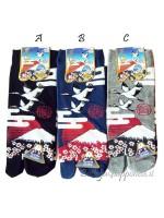 Tabi calze infradito disegno gru e Fuji (tag.L) tre colori
