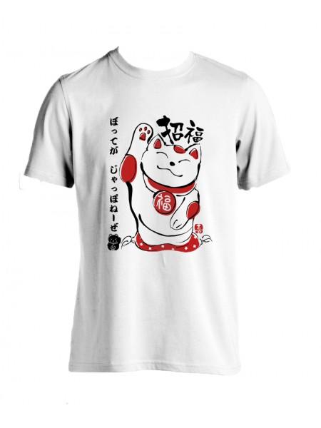 Tshirt maneki neko (Porta fortuna) bianca