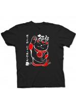 Tshirt nera maneki neko porta fortuna (Taglia S)