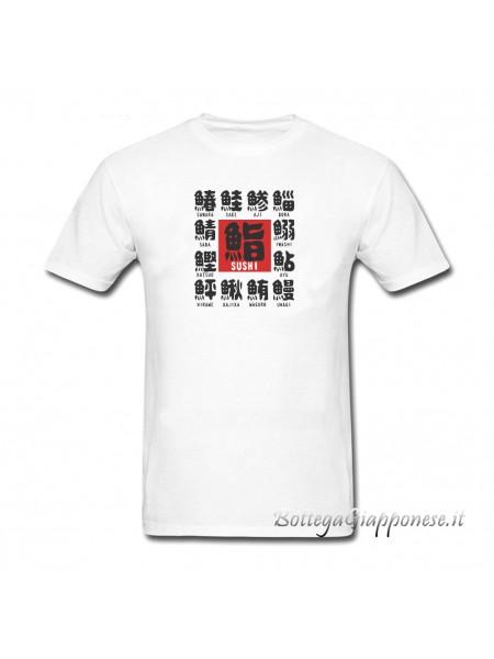 Tshirt sushi con kanji sakana (Taglia L)