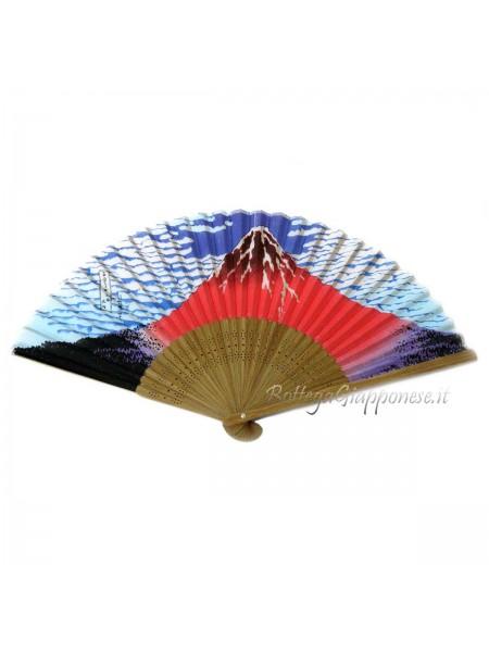 Sensu ventaglio in seta Fuji rosso