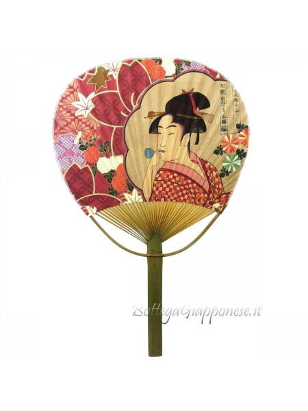 Uchiwa ventaglio aperto Utamaro