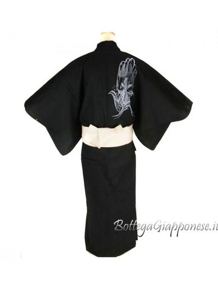 Yukata uomo carpa koi nero con cintura