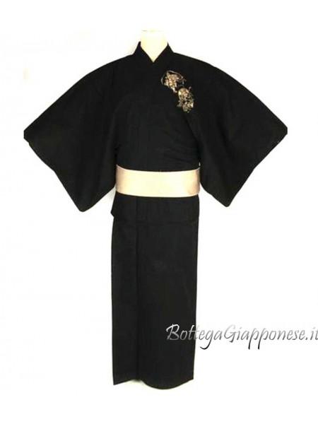 Yukata uomo Fujin Raijin nero con cintura