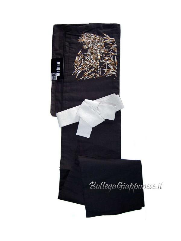 Yukata uomo (L) tigre nero con cintura