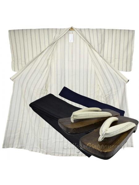 Yukata uomo bianco con obi e sandali geta set