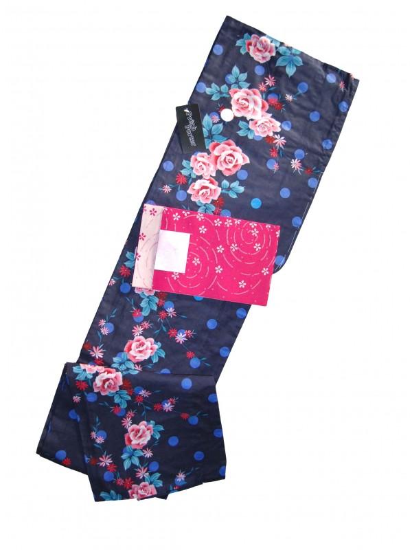 Yukata Rose con cintura Obi set abito giapponese