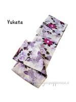 Yukata bianco decorazione peonia