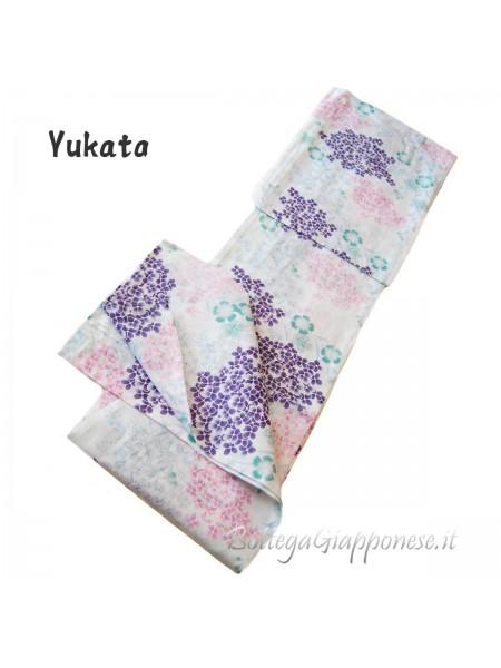 Yukata bianco decorazione fiorellini
