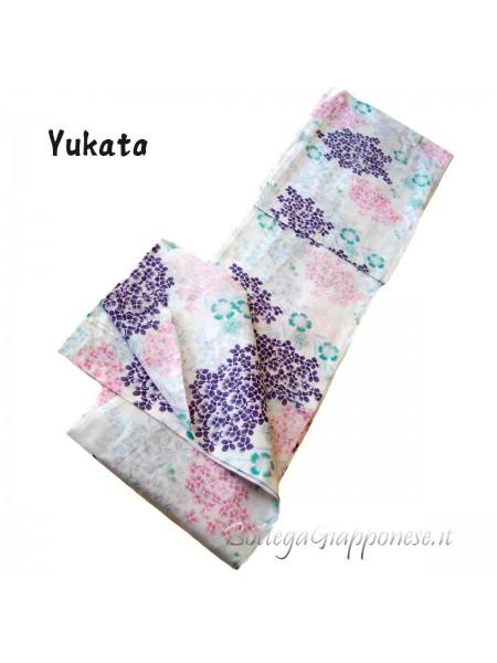 Yukata bianco fiori multicolore (Yukie)
