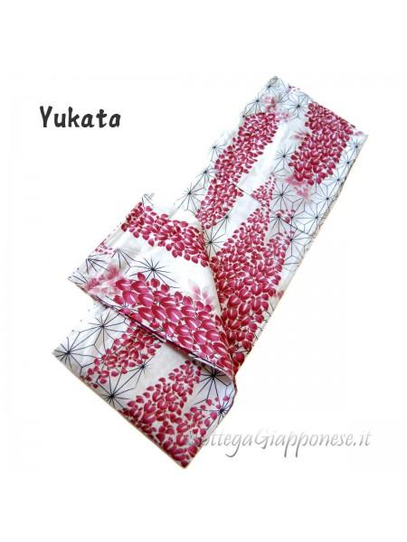 Yukata bianco decorazione asanoha