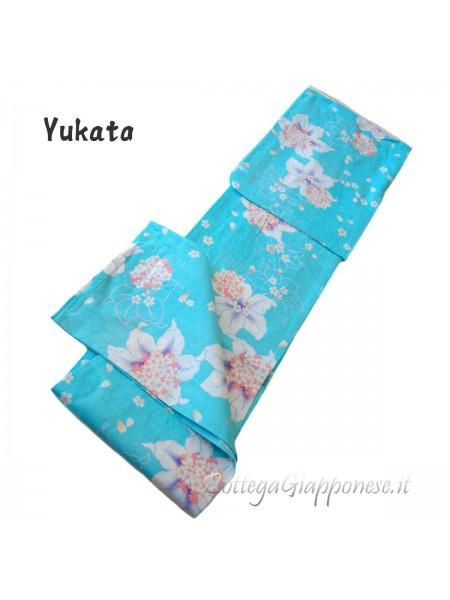 Yukata celeste gigli e fiori di primavera
