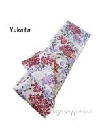 Yukata bianco kimono lungo giapponese Nami