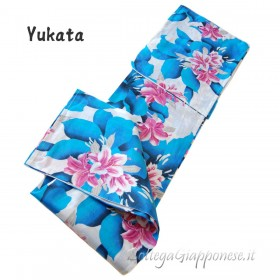 Yukata azzurro kimono lungo giapponese Fujiko