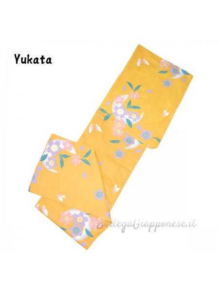 Yukata giallo scuro e fiori colorati (Yuki)