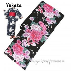 Yukata decorazione fiori e farfalle [Akane]
