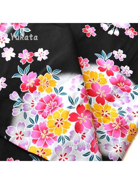Yukata nero decorazione fiori di ciliegio [Akiko]