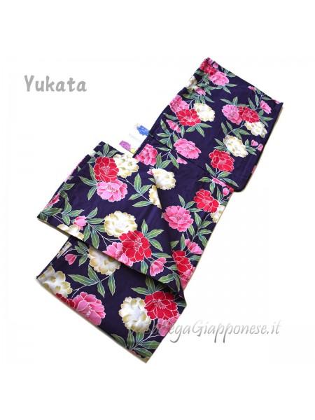 Yukata viola decorazione fiori [Sachiko]