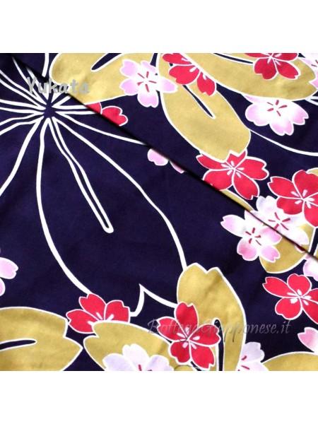 Yukata viola decorazione fiori [Kaori]