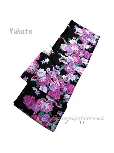 Yukata viola decorazione fiori [Kazuko]