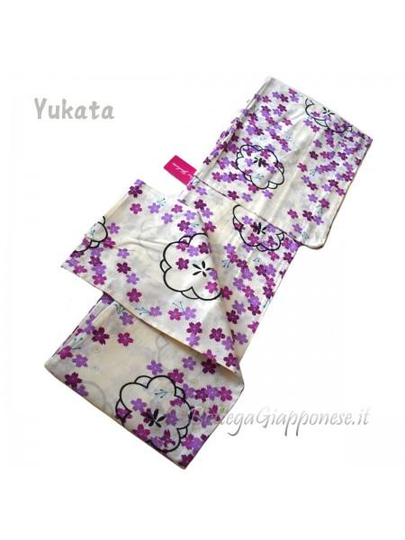 Yukata viola decorazione fiori [Tanabata]