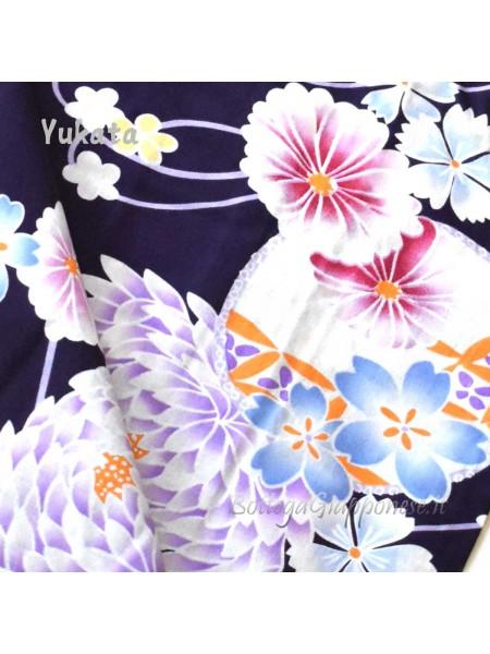 Yukata viola decorazione fiori [Ritsuko]