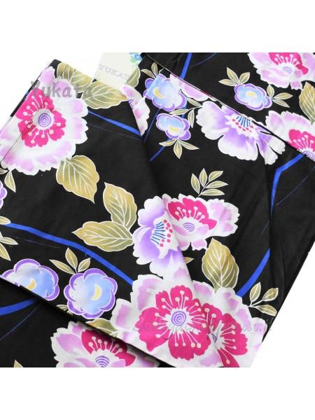 Yukata nero decorazione fiori [Sumiko]