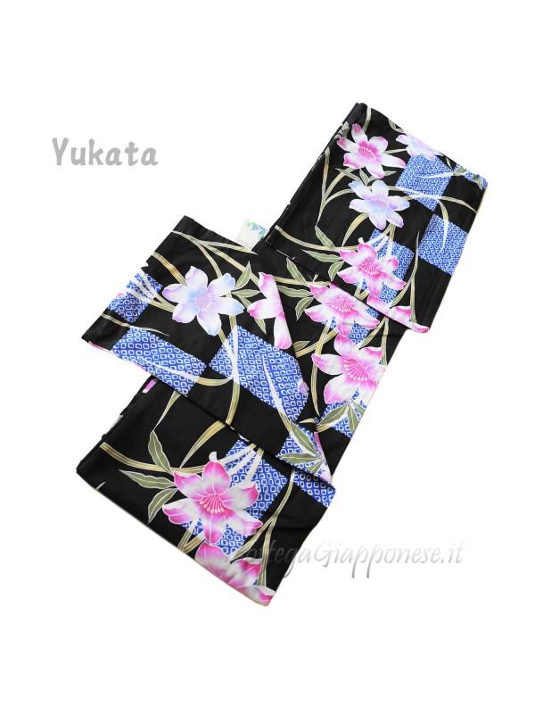 Yukata nero decorazione gigli [Haru]