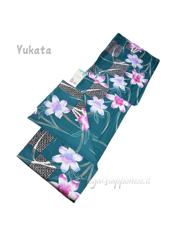 Yukata turchese decorazione gigli [Izumi]