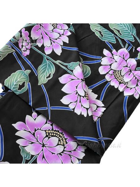 Yukata nero decorazione fiore viola [Haru]