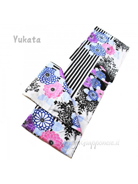 Yukata bianco decorazione contrasto [Kazuko]