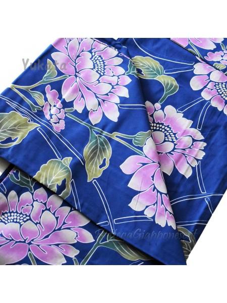 Yukata blu decorazione fiori sfumati [Tanabata]