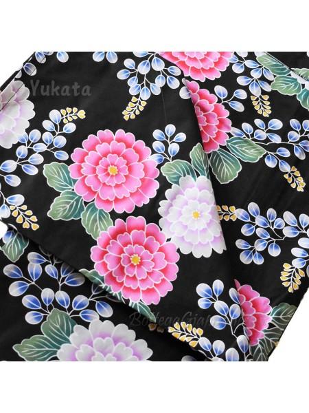 Yukata nero decorazione fiori estivi [hanami]
