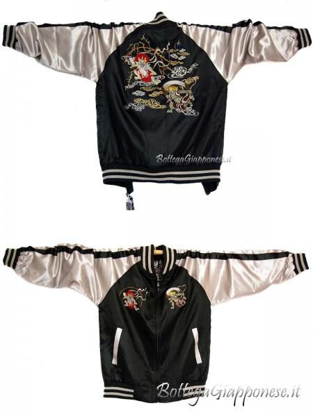 Bomber giacca con ricami di dei giapponesi