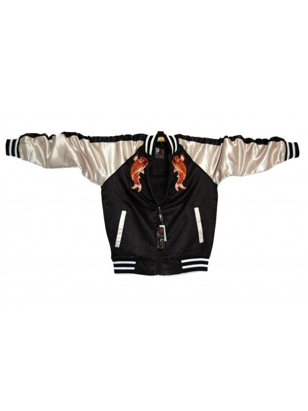 Bomber giacca nera con ricami di carpe
