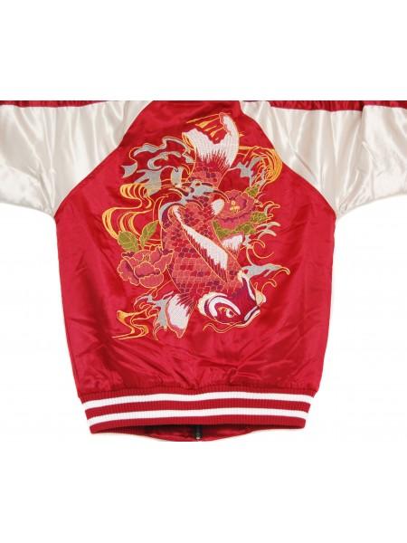 Bomber giacca rossa con ricami di carpe