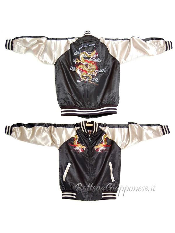 Bomber giacca nera con ricami di drago