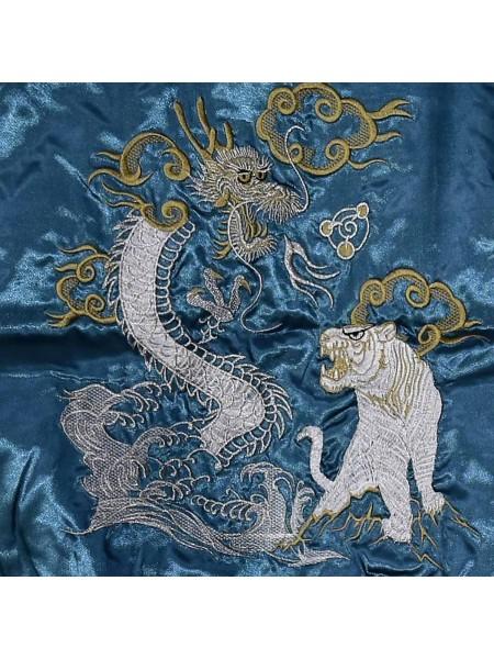 Giacca Bomber blue con ricami di drago e tigre