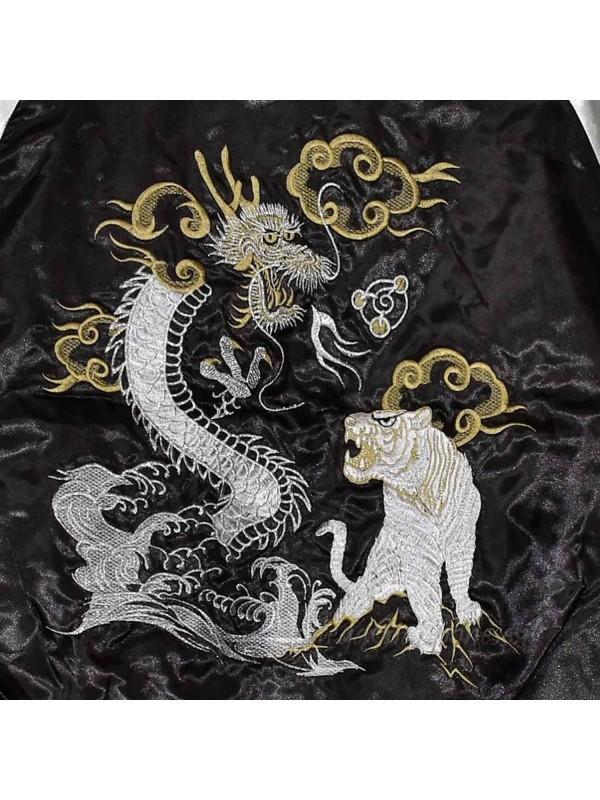 Giacca Bomber nero con ricami di drago e tigre