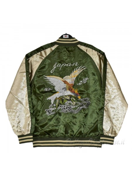 Giacca Bomber verde con ricami di falco