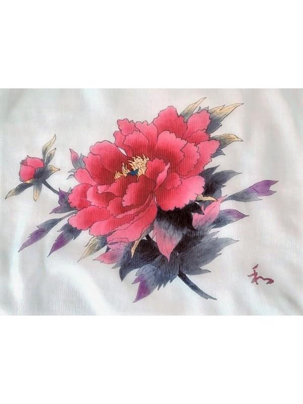 Foulard in seta dipinto a mano motivo peonia ed il carattere amore