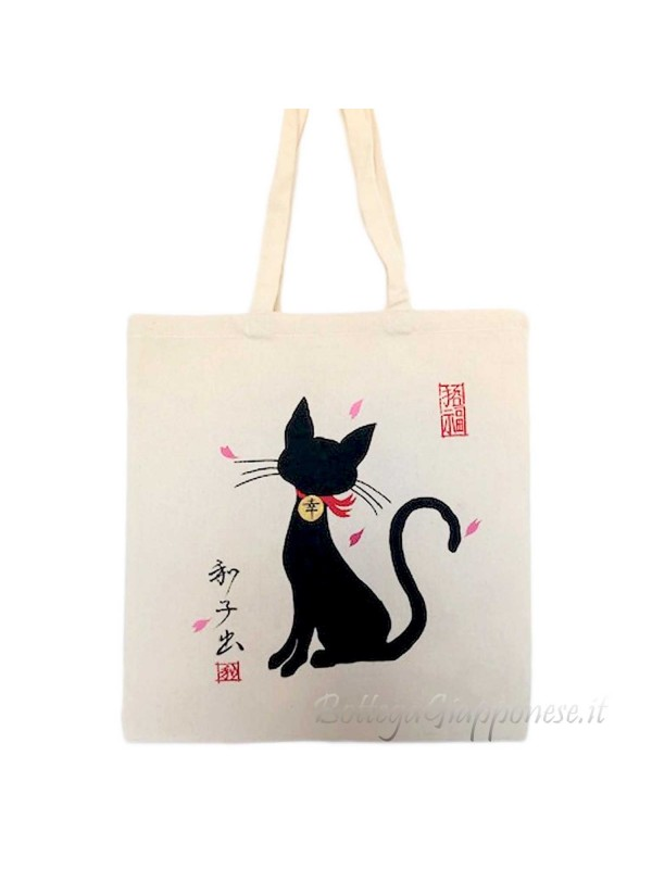 Tote bag con gattino nero e calligrafia giapponese
