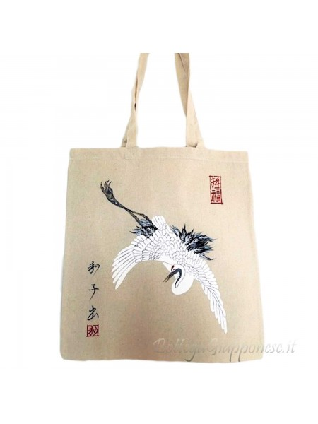 Tote bag con gru e calligrafia giapponese