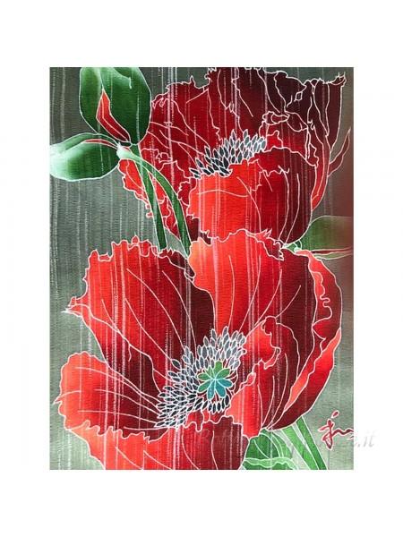 Kakejiku yuzen dipinto a mano su seta Fiore di senape